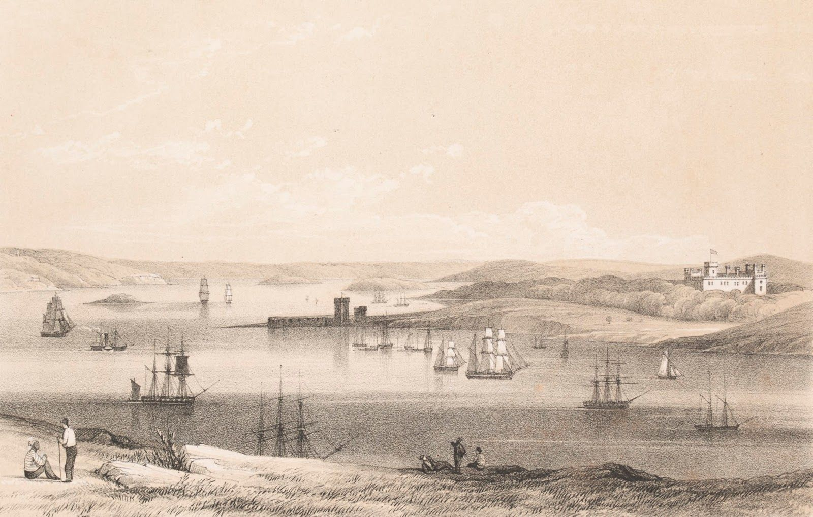 Historic Illustration Sydney Cove with Government House