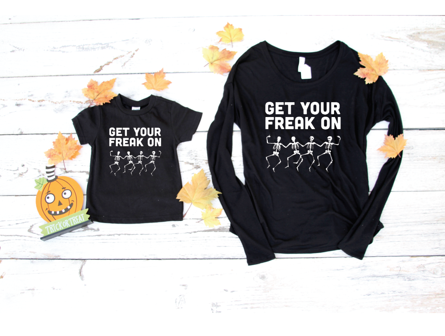 5ed2532c9 Get Your Freak On skeleton t-shirt comes in kids and adult sizes! Be cute  and coordinated this #Halloween season with these matching tees!