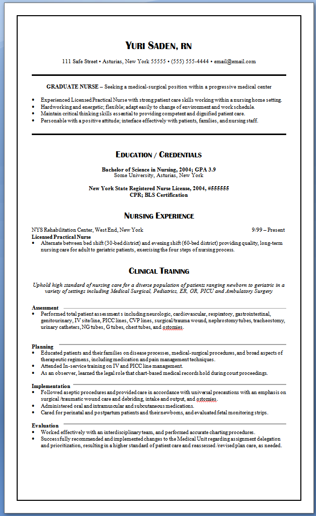 Professional Nursing Resume Sample New Grad Resumew Graduate Nurse Resume Writing Nursing
