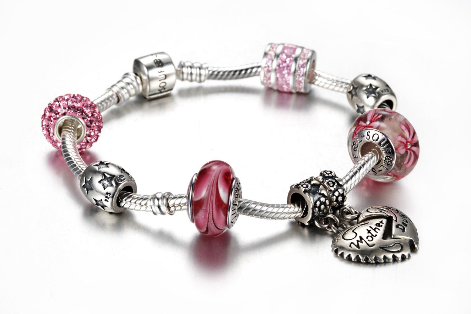 9d38e6967 Soufeel Mother Daughter Charms Fit Pandora Bracelet, add Soufeel charms  into your Pandora Charms Jewelry Box