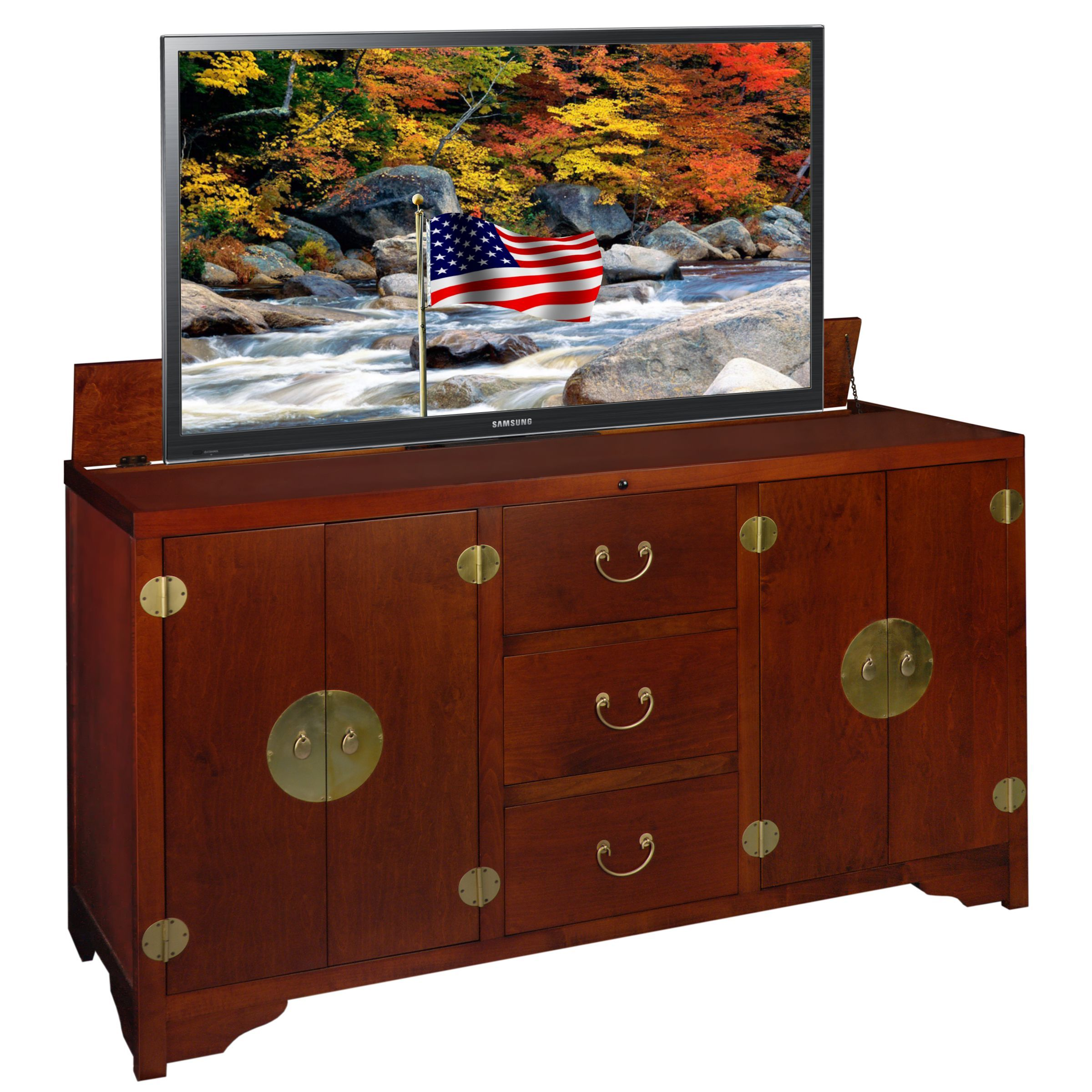 Our New Solid Wood Made in the USA Dynasty TV Lift Cabinet