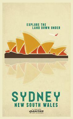 Sydney The Harbour Town La Mer De Tasmanie Vintage Travel Posters Vintage Airline Posters Retro Travel Poster