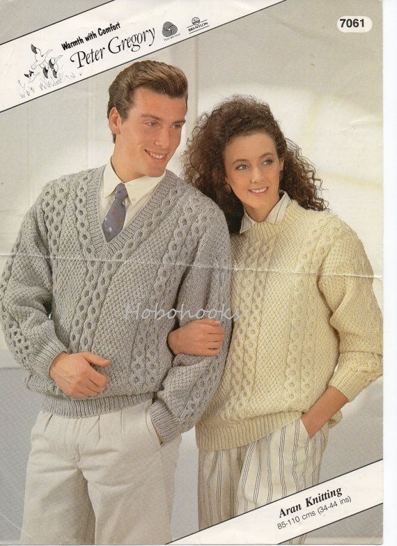 Womens Mens Aran Sweater Knitting Pattern Cable Sweater V Neck Round
