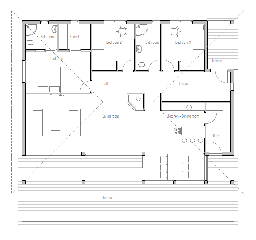 Simple affordable small house plan with open plan and three