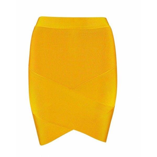 """BIANCA"" Golden Bandage Skirt ($54) ❤ liked on Polyvore featuring skirts, mini skirts, short summer skirts, summer skirts, asymmetrical short skirt, bandage skirt and mini skirt"