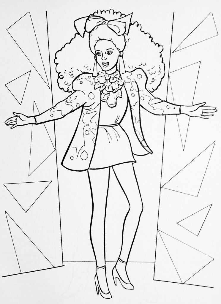 Barbie And The Rockers Fashion Illustration Google Search Barbie Coloring Pages Barbie Coloring Coloring Pages