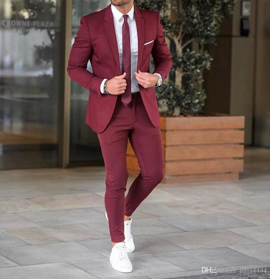 Classy Wedding Tuxedos Groom Attire Burgundy Suits 2020 Custom Make Groomsmen Suit Jacket Pants Slim Fit Bridegroom Tailcoat Brown J01 Mens Black Tie Attire Men Prom Suits For Men Suits Men Business