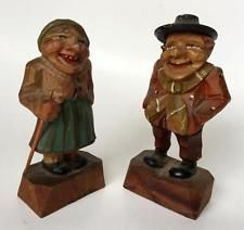 Vintage hand carved wooden Man and Woman Figurines Statuettes , Karl ... Lot 51B