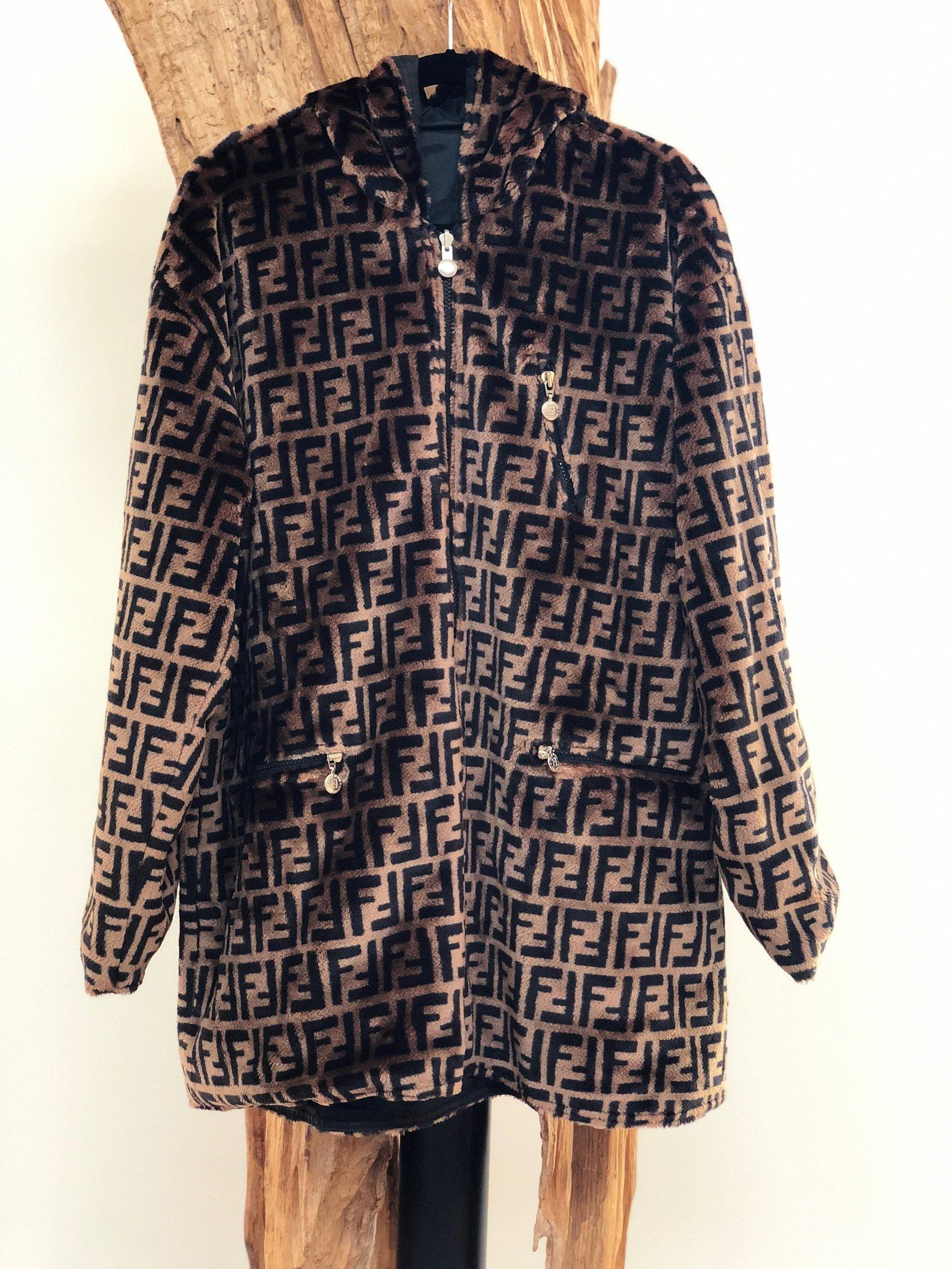 648f3355cb9 Vintage FENDI FF Zucca Print Reversible Faux Fur MONOGRAM Hooded ...