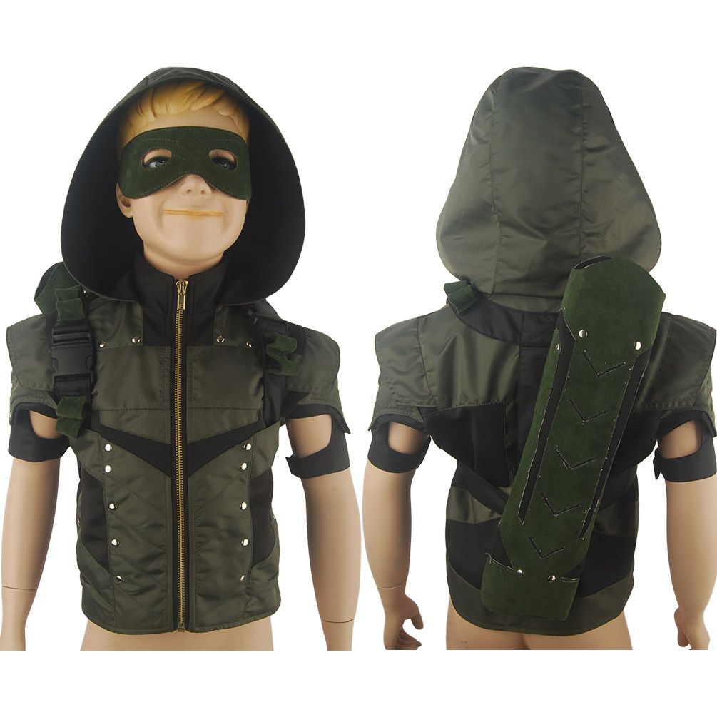 Kids Green Arrow Season 4 Oliver Queen Jacket Hoodie Halloween Cosplay Costume Xmas Birthday Gift Anime Comic Con Green Arrow Costume Kids Arrow Costume Kids Green Arrow Costume