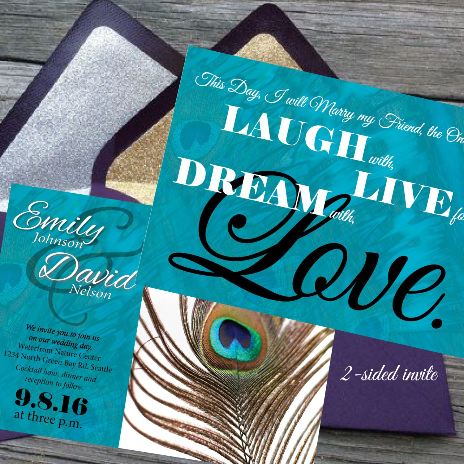Peacock Wedding Invitations Printable Custom Wedding Invite Pdf