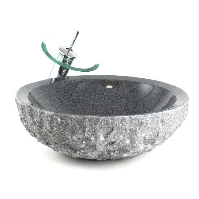 Wonderful Ravens Nest Design Sesame Black Granite Bathroom Lavatory Vessel Sink   17  X 5 3