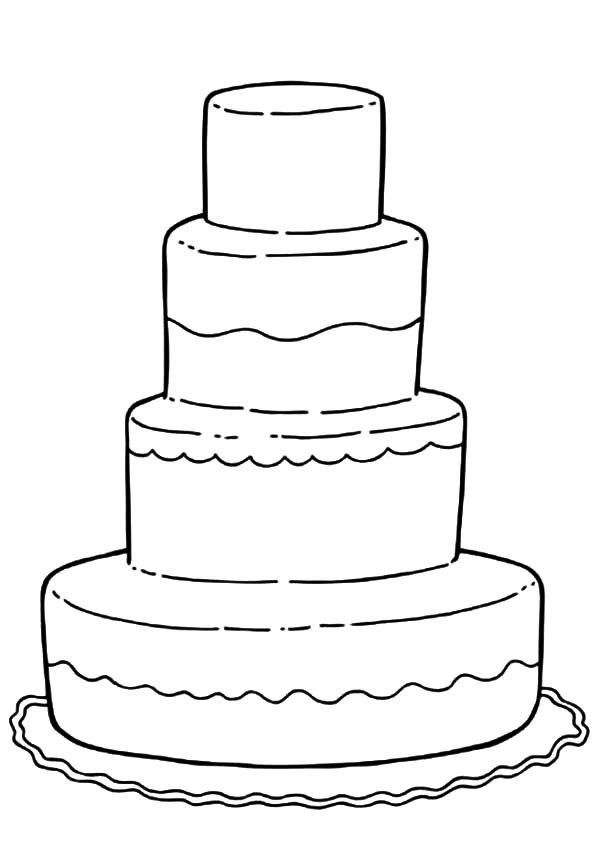 Wedding Cake Coloring Pages Cupcake Sweets