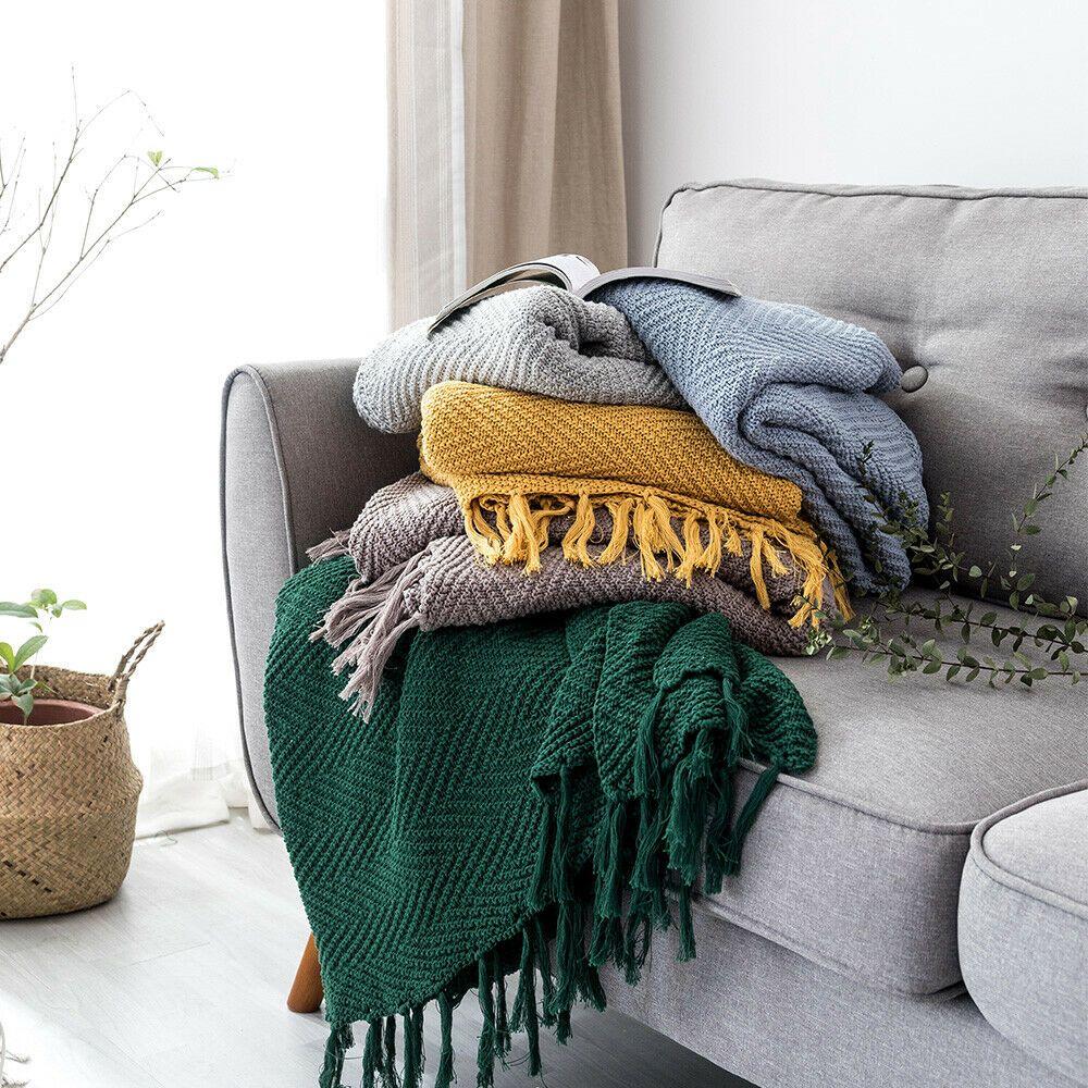100 Cotton Luxury Tassels Blanket Knitted Throw Sofa Bed Crochet Rug Home Decor Sofa Throws Ideas Of Sofa Throws Knitted Throws Tassel Blankets