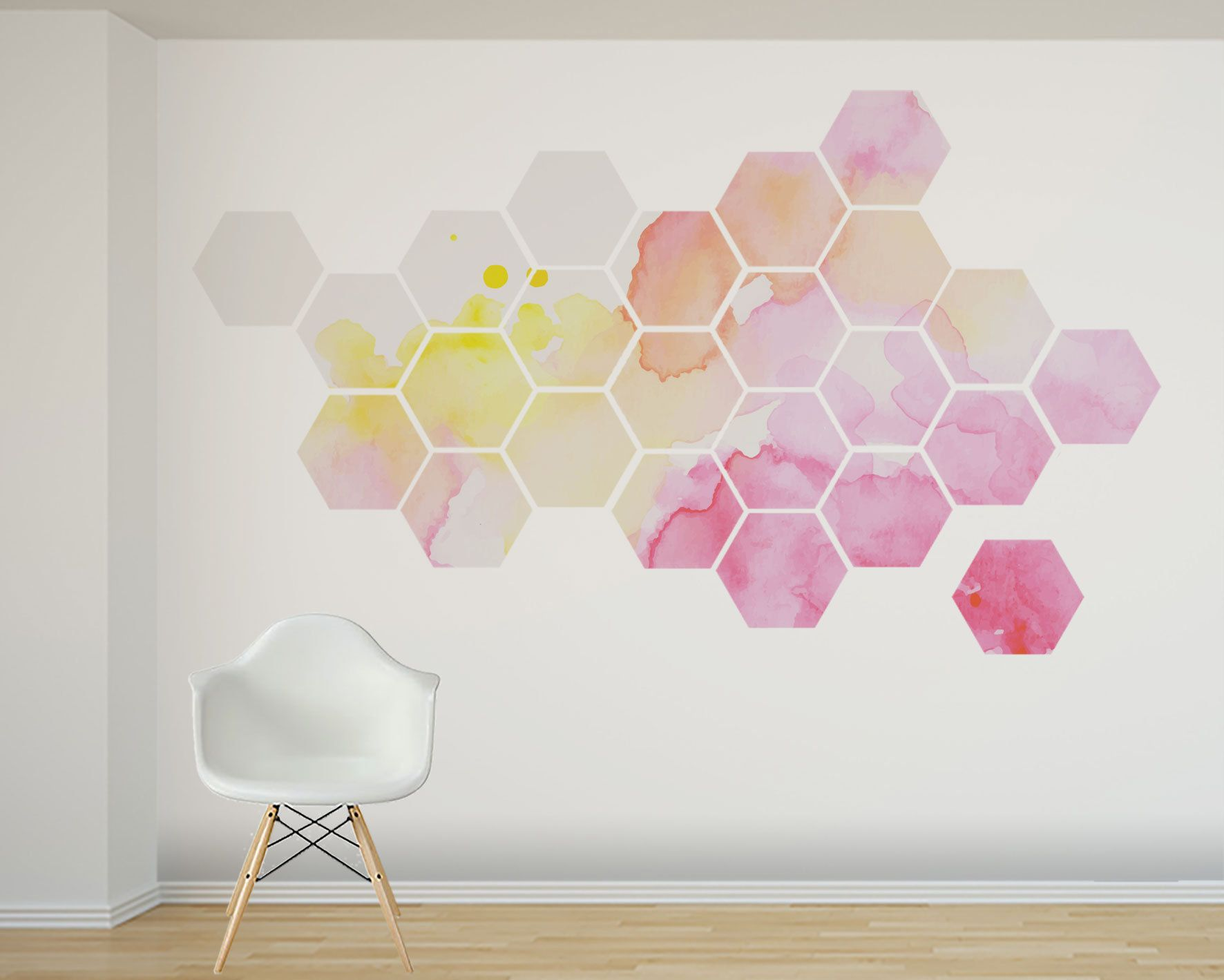 Sweet pink yellow and peach watercolor wall decal 24 removable