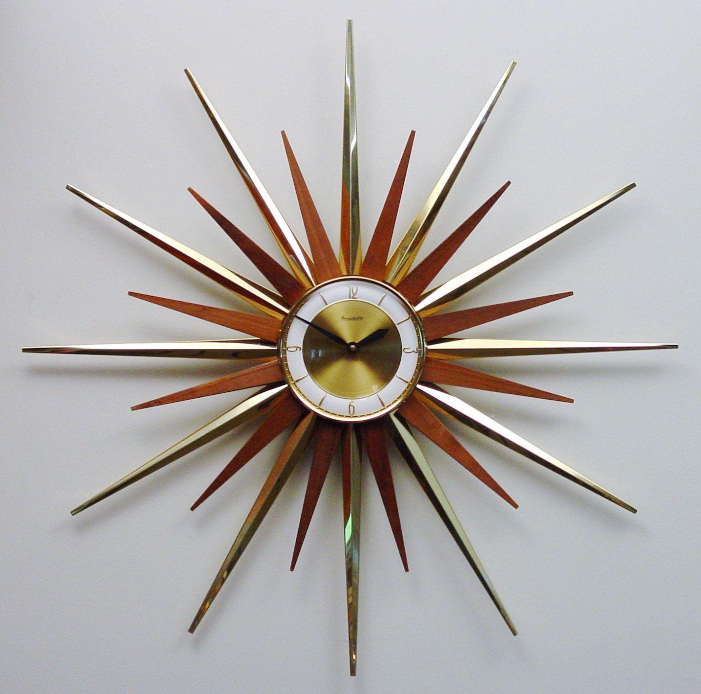 Mid Century Modern Starburst Wall Clock By Forestville, Atomic Fireworks  Starburst Modern 1960s Hanging Clock
