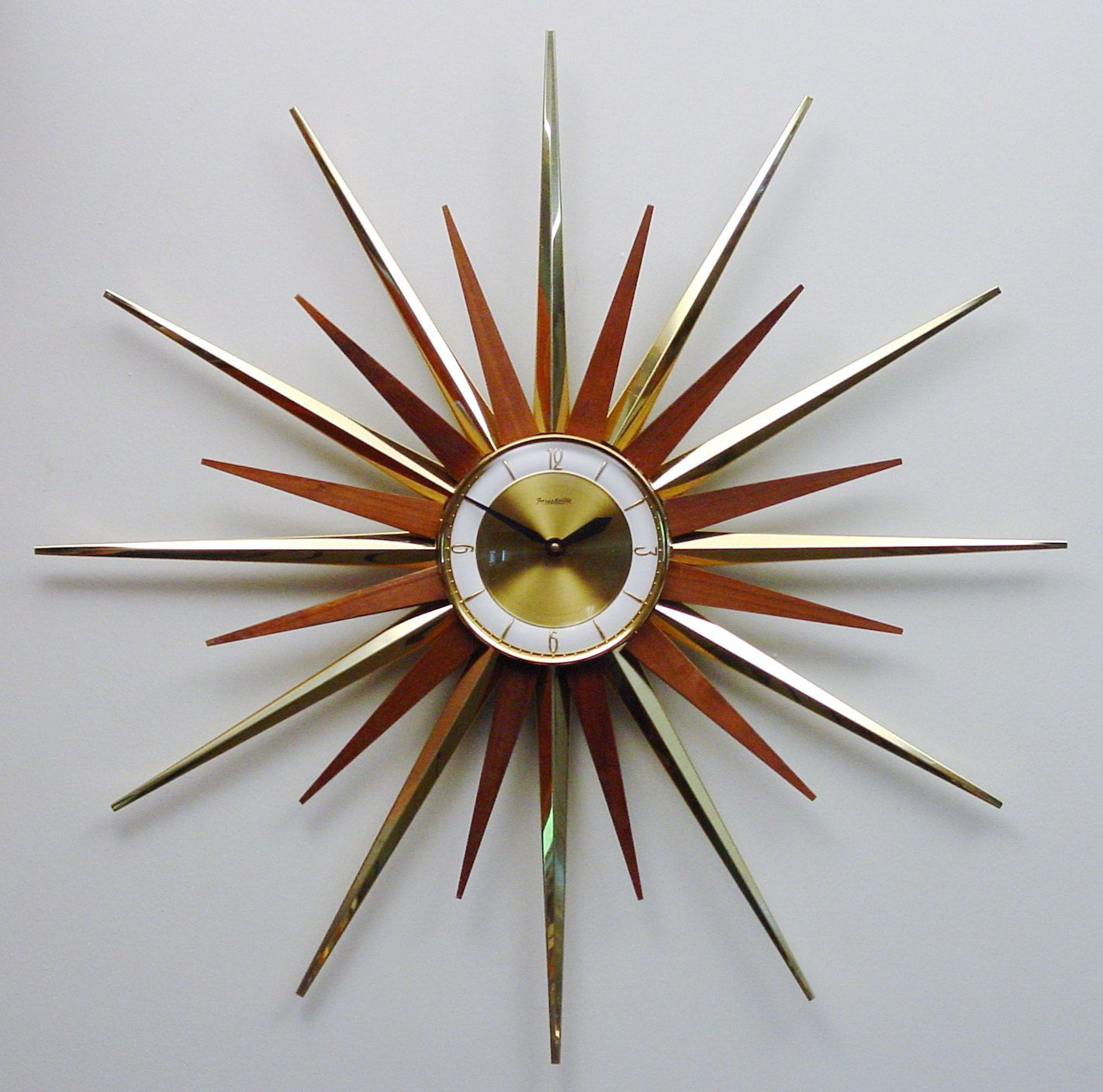 Bon Mid Century Modern Starburst Wall Clock By Forestville, Atomic Fireworks  Starburst Modern 1960s Hanging Clock