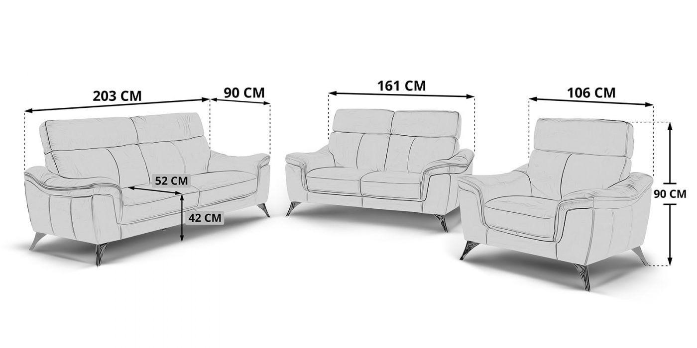 3 2 1 Sitzer Ledersofa Couchgarnitur Stella Chromfuesse Skizze Jpg Modernes Design Leder Kaltschaum