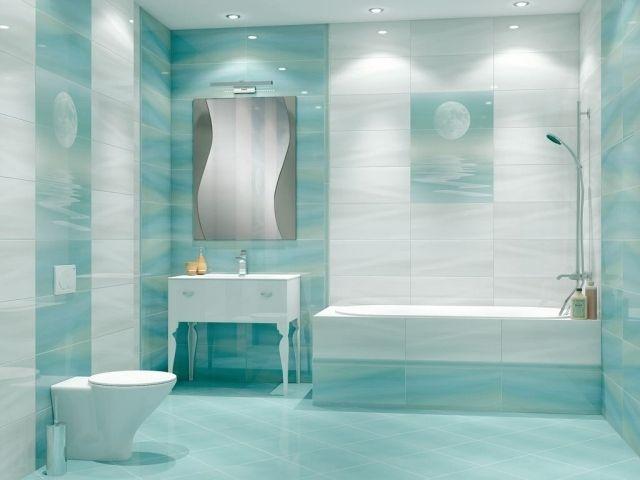 peinture salle de bains 24 ides de murs en deux couleurs carrelage mural bleu - Carrelage Salle De Bain Bleu