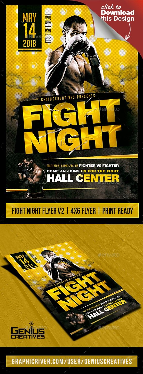 fight night flyer template pinterest fitness games fight night