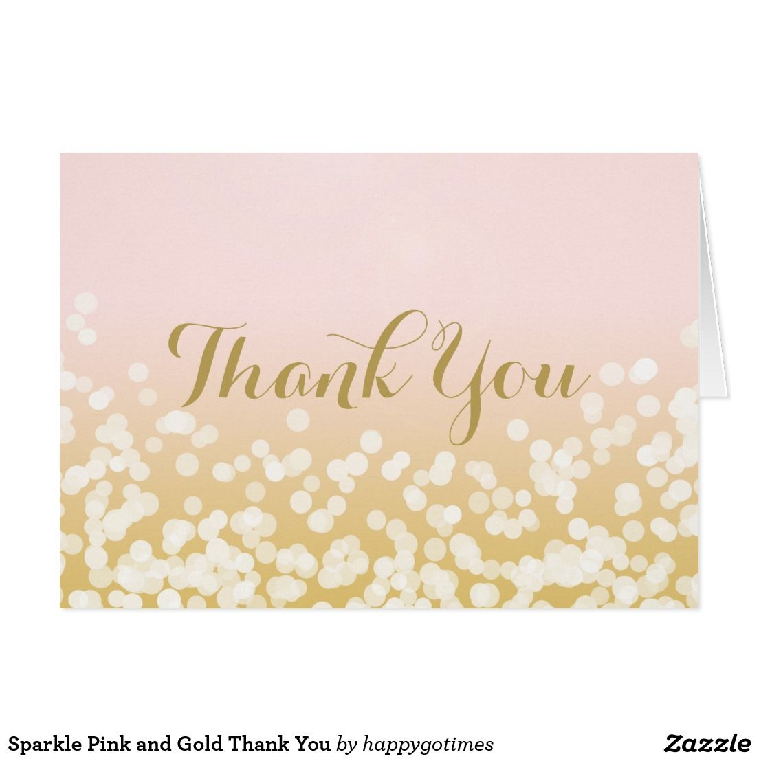 Sparkle Pink And Gold Thank You Card Favors And Weddings