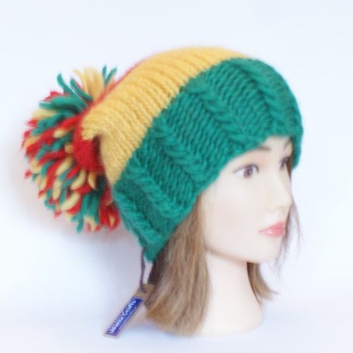 Irish handknit red green and yellow county hat by Johannahats, $30.00