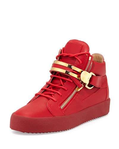 bdc018deeca9c Double-Strap Leather Mid-Top Sneaker Red   Products   Sneakers ...