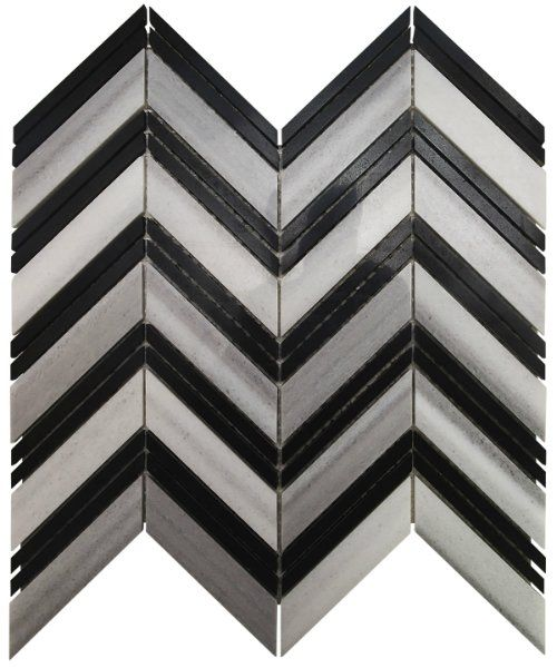 Cool Fine Living Products Tiffany Chevron Stone Mosaic Tile in Black and White Awesome - Inspirational black mosaic tile