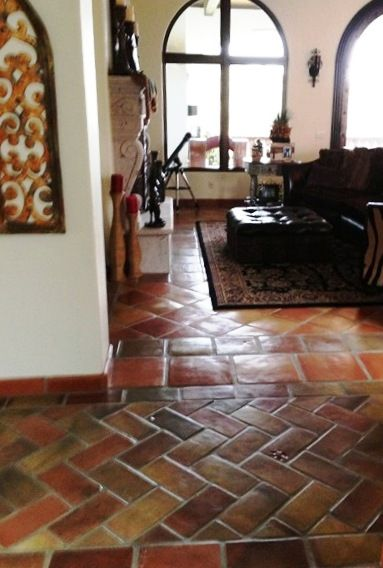 Manganese Saltillo Tile In A 6x12 Brick Lay Pattern