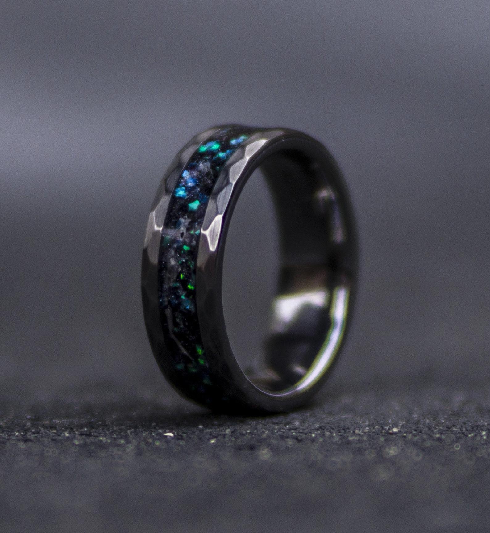 Sale Mens Opal Ring Galaxy Opal Tungsten Ring For Men Meteorite Opal Ring Hammered Wedding Band Men Ring With Opal Inlay In 2020 Rings For Men Tungsten Mens Rings Opal Rings