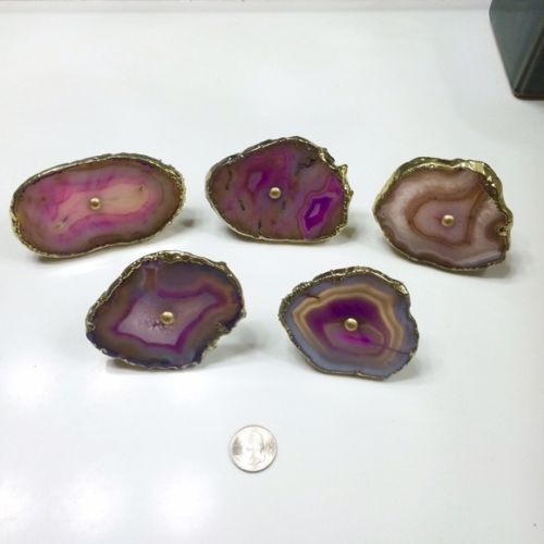 lot of 5 purple pink agate geode stone cabinet drawer knobs pulls