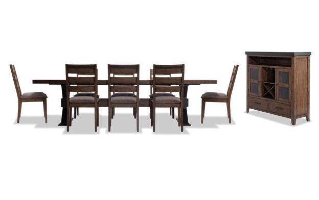 Lennox 10 Piece Dining Set With Server Ladder Back Chairs In 2020 Dining Room Sets Industrial Dining Room Sets Dining Room Industrial