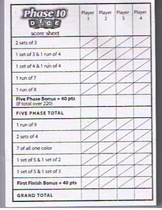 Phase  Dice Score Sheet  UeMath    Scores Gaming And