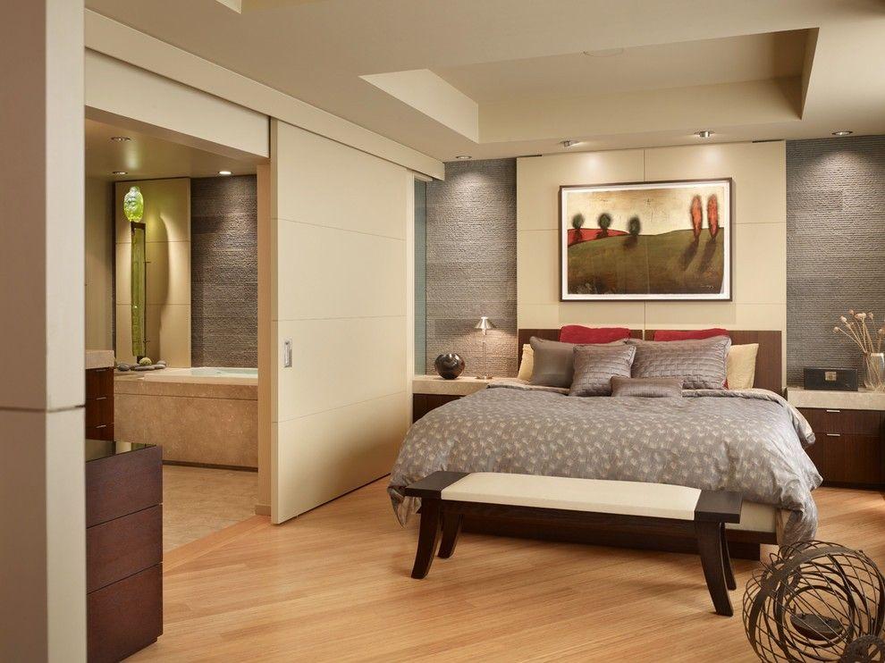 Dieses Schlafzimmer Paare Die Coolen Untertonen Von Hellen Holzboden