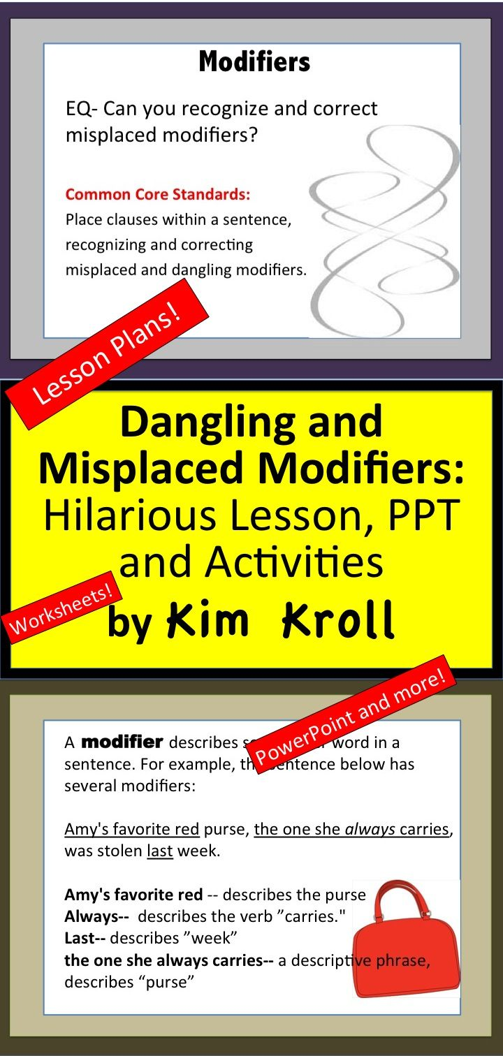 Dangling And Misplaced Modifiers Hilarious Lesson Ppt And Activities Misplaced Modifiers Powerpoint Word Lesson