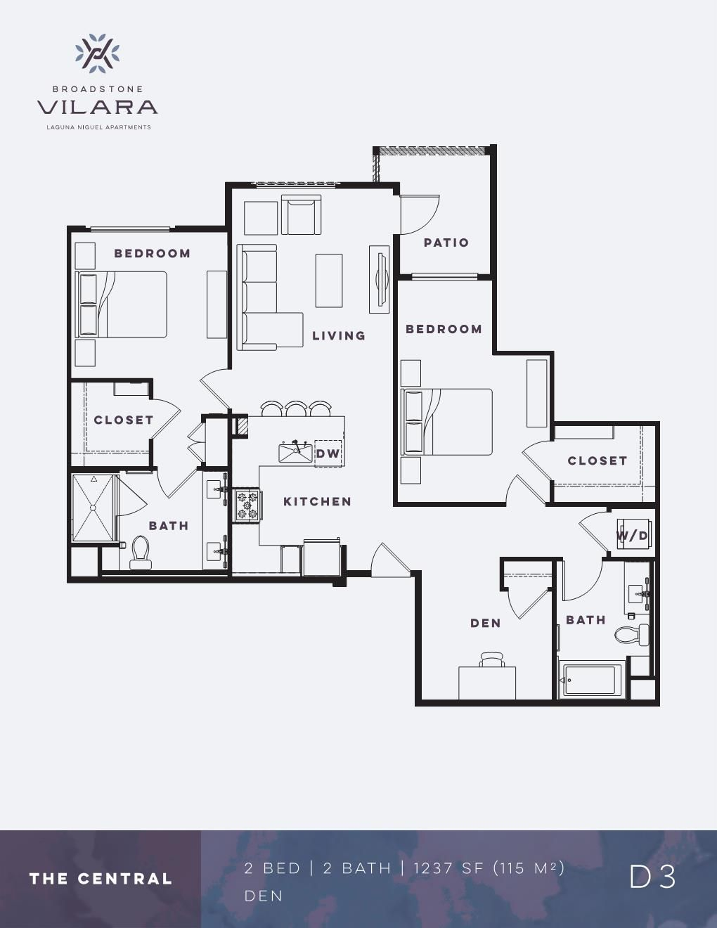 Two Bedroom Den Apartment The Central Broadstone Vilara In 2020 Floor Plans Apartment Floor Plans Apartment Plans