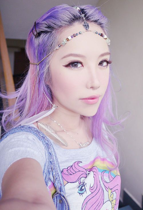 Light ombre purple hair with headpiece. Also, My Little Ponies!