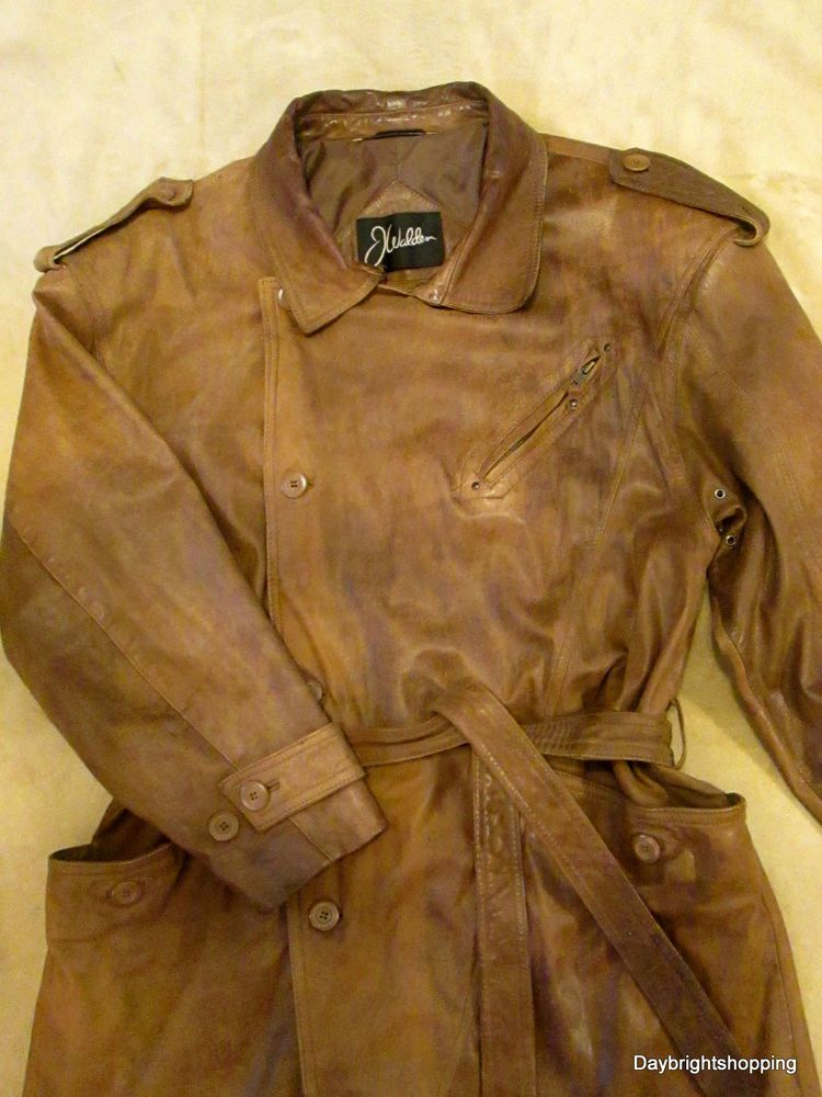 VINTAGE Mens Long/Brown/Distressed Leather Trench Coat by