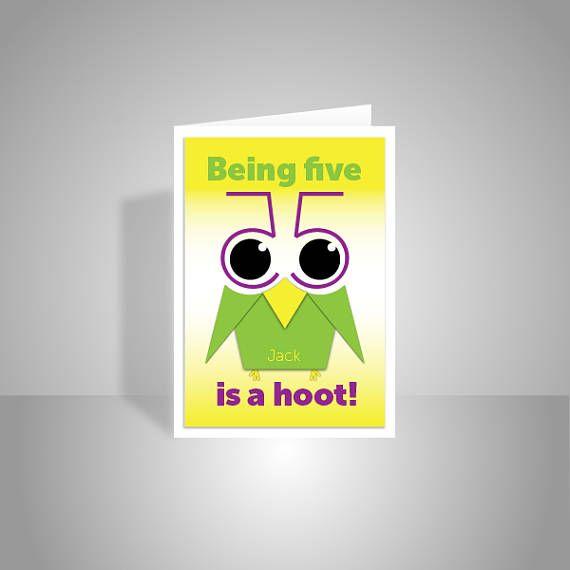 funny owl 5th happy birthday card for boy for girl