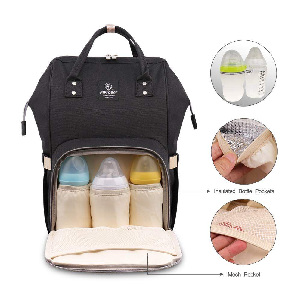 HEYI Diaper Tote Bag Travel Backpack Organizer, Black