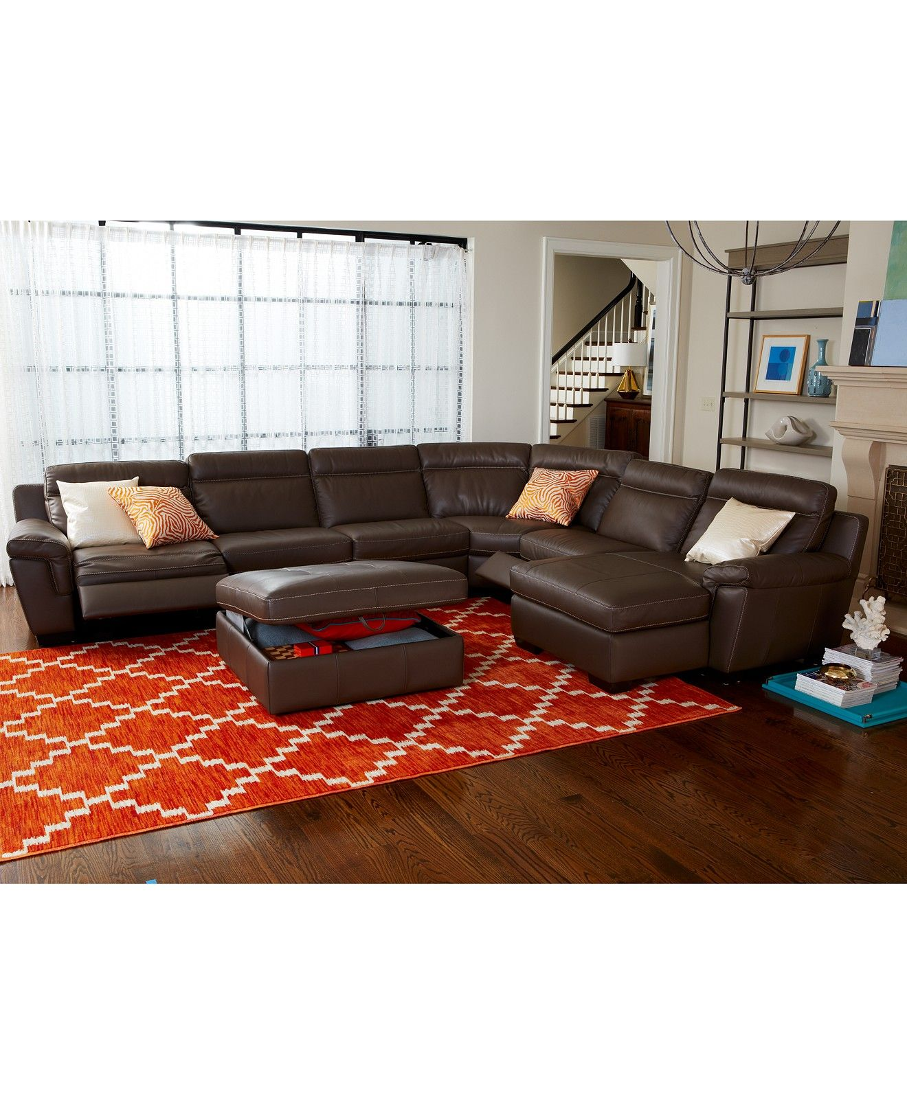 CLOSEOUT Julius Leather Power Reclining Sectional Sofa Collection