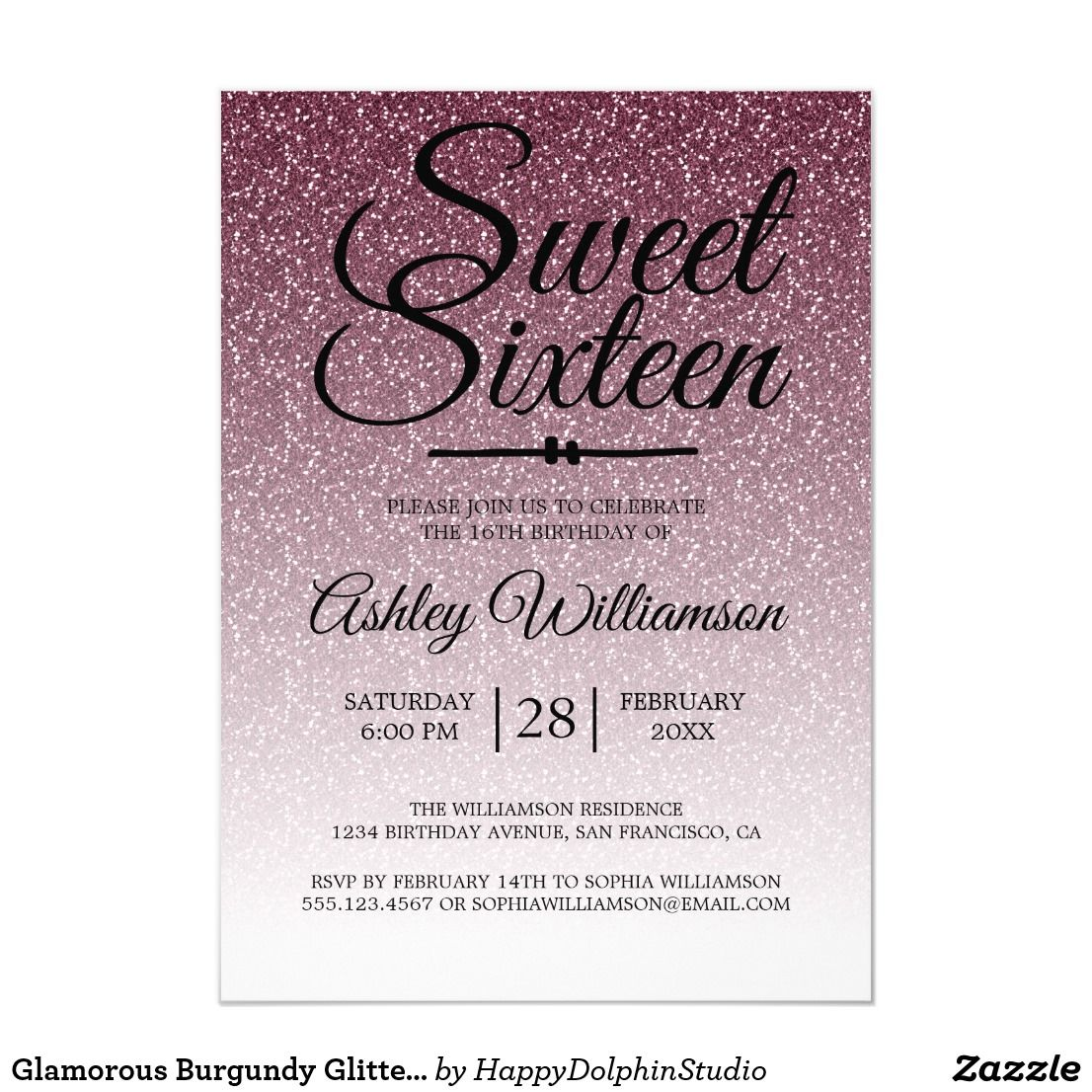 Glamorous Burgundy Glitter Ombre Sweet 16 Birthday Invitation