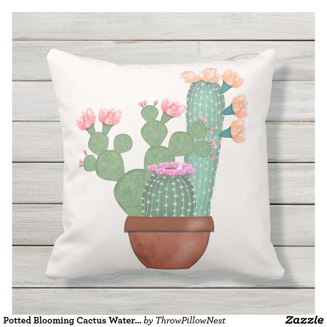 Potted Blooming Cactus Watercolor Outdoor Pillow Zazzle
