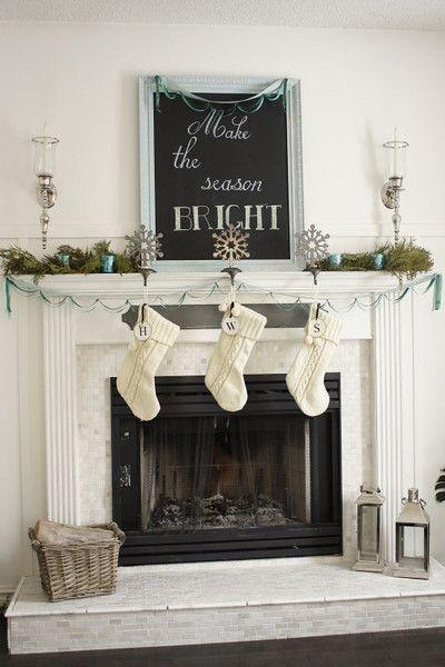 Turquoise Holiday Decor Pinterest Christmas fireplace mantels - christmas fireplace decor
