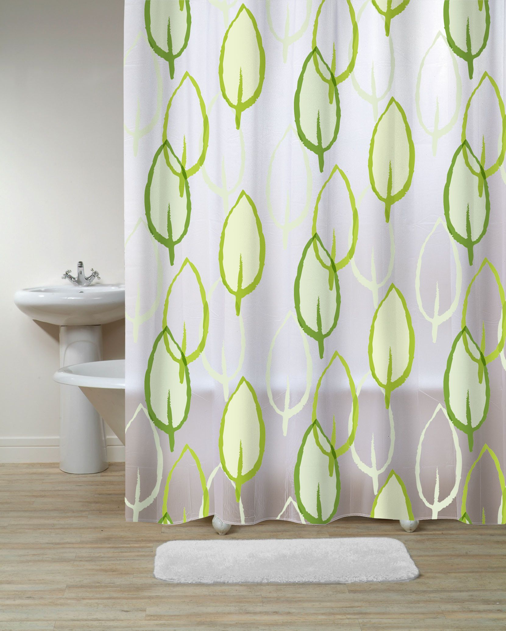 Black And White Shower Curtain With Flower Art Design For Modern