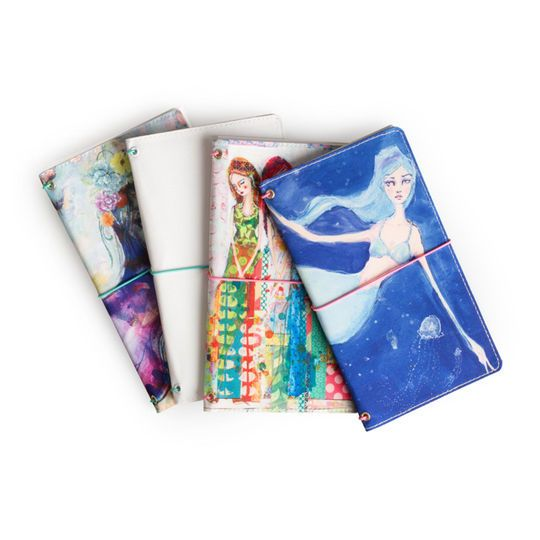 NEW Jane Davenport Canvas Travelers Art Journal Butterfly Book Mermaid