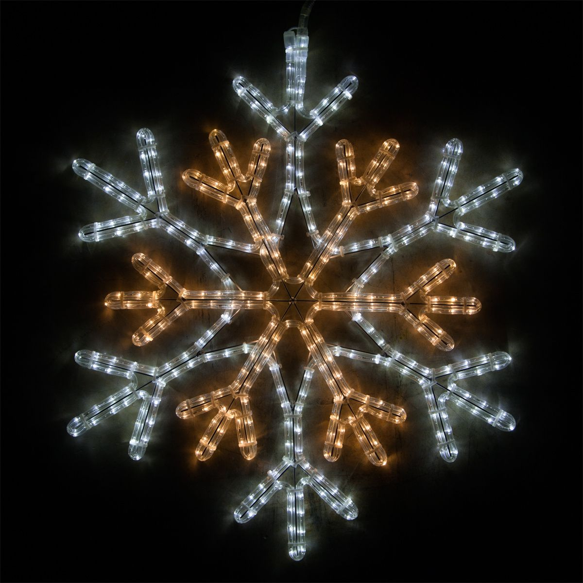 Led 36 Point Star Center Snowflake Cool White And Warm White Lights Christmas Lights Etc Snowflake Lights White Christmas Lights Outdoor Christmas Decorations