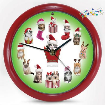 Kittens Christmas Carol Clock - For The Cat Lovers Among Us