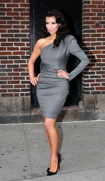 Long Sleeve Cocktail Dresses One Shoulder Satin Kim Kardashian ...