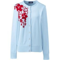 Photo of Supima Fine Knit Floral Cardigan – Blue – 40-42 from Lands 'End Lands' End